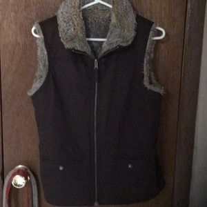 Reversible brown and faux fur vest